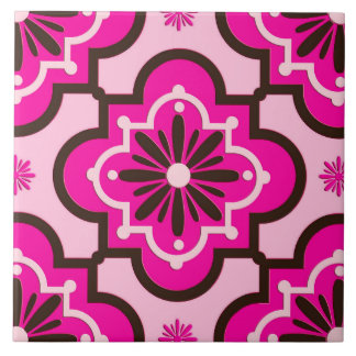 Moroccan Tile Pattern, Fuchsia Pink and Black