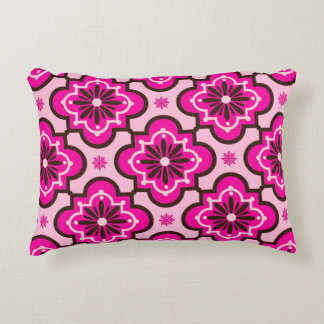 Moroccan Tile Pattern, Fuchsia Pink and Black Accent Pillow