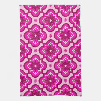 Moroccan tile pattern - Fuchsia Pink Kitchen Towel