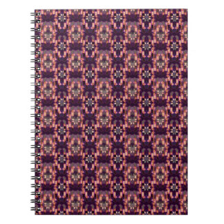 Moroccan tile pattern in burgundy and pink spiral notebooks