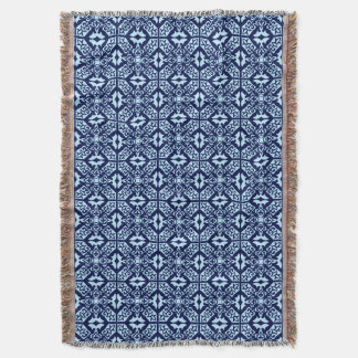 Moroccan Tile Pattern, Navy and Sky Blue Throw Blanket