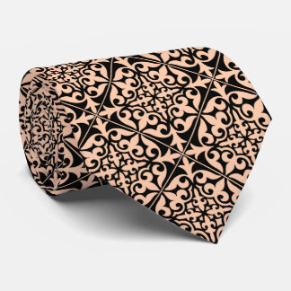 Moroccan tile - peach pink and black tie