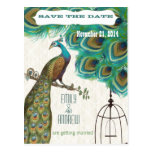 Moroccan Tile Peacock Birdcage Save the Date