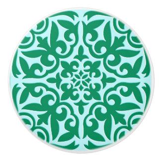 Moroccan tile - turquoise and aqua ceramic knob
