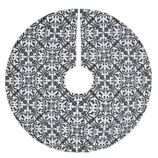 Moroccan tile - white with black background brushed polyester tree skirt