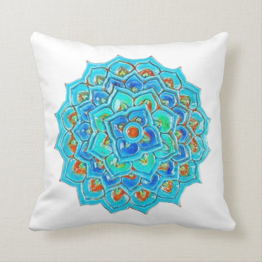Moroccan Tile with Mandela design in watercolor. Throw Pillow