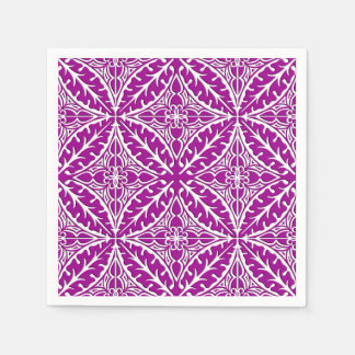 Moroccan tiles - amethyst purple and white disposable napkins
