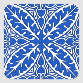 Moroccan tiles - cobalt blue and white square sticker