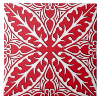 Moroccan tiles - dark red and white