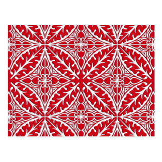 Moroccan tiles - dark red and white postcard
