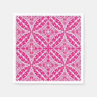 Moroccan tiles - fuchsia pink and white disposable napkin
