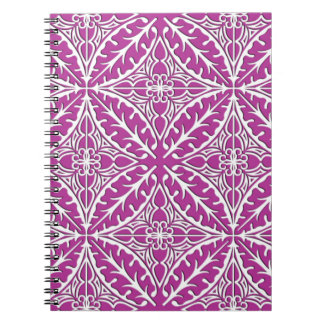 Moroccan tiles - orchid and white spiral notebook
