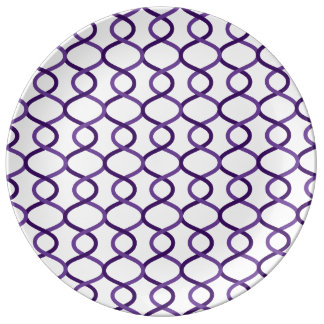 Moroccan weave pattern porcelain plates