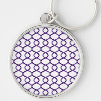 Moroccan weave pattern Silver-Colored round keychain