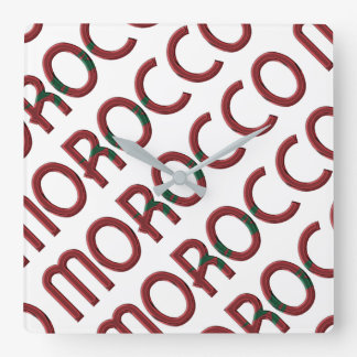 Morocco Africa Moroccan Flag Colors Typography Square Wall Clock