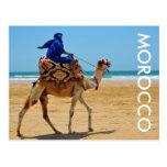 morocco arab ride camel seaside beach postcard