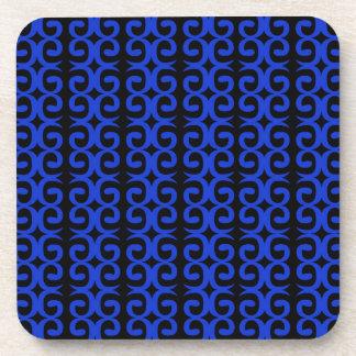 MOROCCO BLUE BLACK Fashion handdrawn Art Beverage Coasters