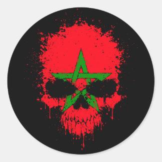 Morocco Dripping Splatter Skull Classic Round Sticker