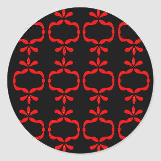 MOROCCO ETHNO RED BLACK PATTERN CLASSIC ROUND STICKER