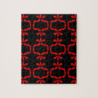 MOROCCO ETHNO RED BLACK PATTERN JIGSAW PUZZLE