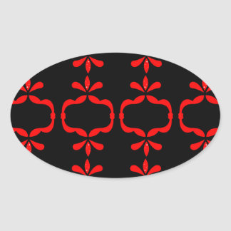 MOROCCO ETHNO RED BLACK PATTERN OVAL STICKER