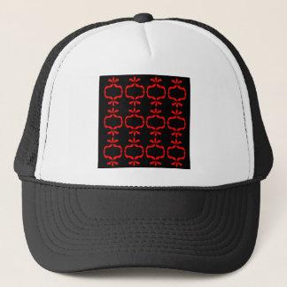 MOROCCO ETHNO RED BLACK PATTERN TRUCKER HAT