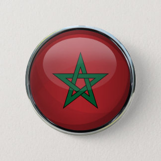 Morocco Flag Glass Ball 2 Inch Round Button