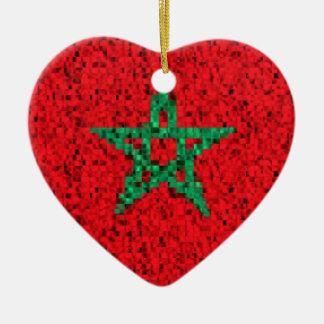 Morocco Flag glitter ornament
