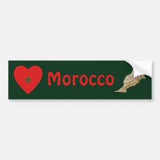 Morocco Flag Heart + Map Bumper Sticker