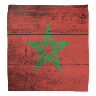 Morocco Flag on Old Wood Grain Bandana