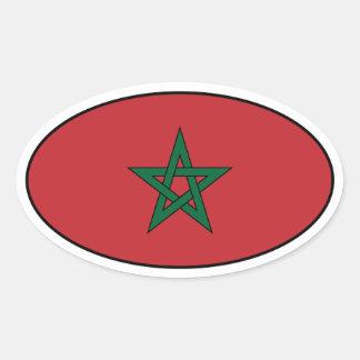 Morocco Flag Oval Sticker
