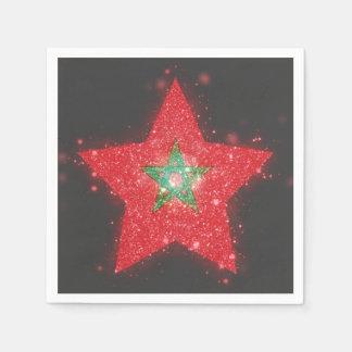 Morocco Flag Shining Disposable Napkins