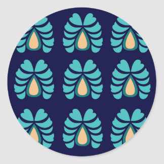 MOROCCO FOLK FLOWERS HAND PAINTED CLASSIC ROUND STICKER