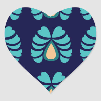 MOROCCO FOLK FLOWERS HAND PAINTED HEART STICKER