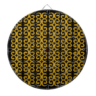MOROCCO LUXURY GOLD ETHNO SPIRALS DARTBOARD WITH DARTS