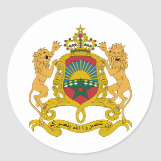 Morocco Official Coat Of Arms Heraldry Symbol Classic Round Sticker