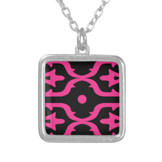 MOROCCO PINK BLACK ETHNO SUMMER SILVER PLATED NECKLACE