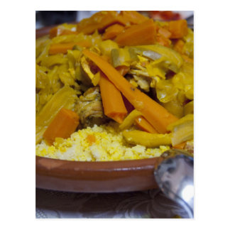 Morocco, Tetouan. Traditional Moroccan meal of Postcard
