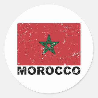 Morocco Vintage Flag Classic Round Sticker