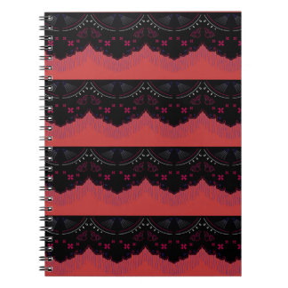 MOROCCO VINTAGE HANDDRAWN LACE BLACK RED NOTEBOOKS
