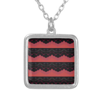 MOROCCO VINTAGE HANDDRAWN LACE BLACK RED SILVER PLATED NECKLACE