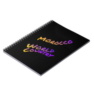 Morocco world country,  colorful text art spiral note books