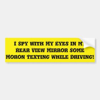 MORON TEXTING WHEN DRIVING BUMPER STICK BUMPER STICKER