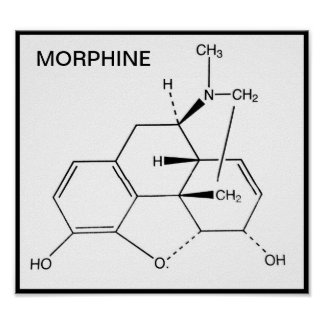 MORPHINE CHEMICAL STRUCTURE POSTER