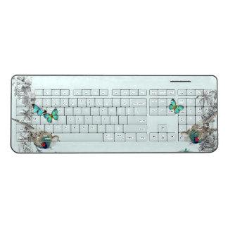Morpho Butterflies Garden Birds Wireless Keyboard
