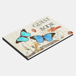Morpho Butterflies Poppy Flowers Guest Book