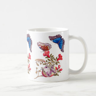 Morpho Butterfly Pomegranate Flowers Floral Mug