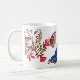Morpho Butterfly Pomegranate Flowers Floral Mug