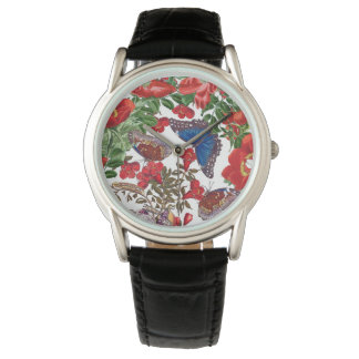 Morpho Butterfly Rose Floral Flowers Watch