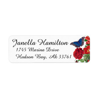 Morpho Butterfly Roses Flowers Address Labels
